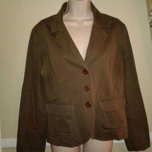 Talbots stretch women's army green blazer size 12